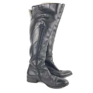 Knee-High Heeled Leather Boots Black Made in Italy Sz EUR 38-infinitote.com