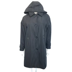 Andrew Marc Women's Raincoat Jacket Removable Hood Black Sz M-infinitote.com