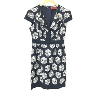 CH Carolina Herrera Navy Blue Silk Paisley Short Sleeve Sheath Dress Sz 6-infinitote.com