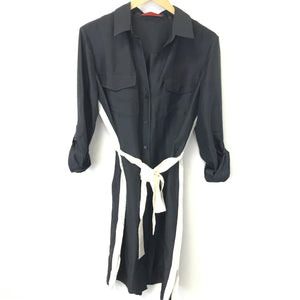 CH Carolina Herrera Black Long Sleeve Shirt Dress White Belt Sz 10-infinitote.com