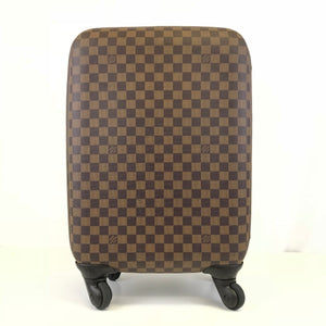 Louis Vuitton Zephyr 55 Rolling Suitcase Carry On Damier Ebene Brown Leather