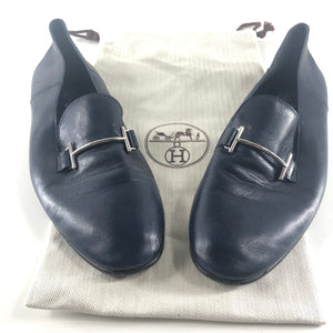 Hermes Men's Saga Loafers Navy Blue Leather Mules Sz 45-infinitote.com