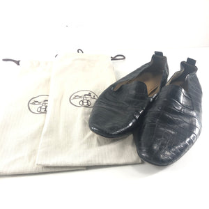 Hermes Men's Alligator Croc Leather Loafers Shoes Black Sz 45-infinitote.com