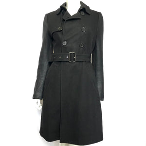 BCBG Women's Cashmere Blend Trench Coat Faux Leather Sleeves Black Sz M-infinitote.com