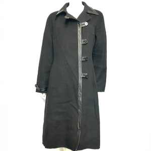 Zyga Paris Women's Designer Wool Coat w/ Leather Trim Black Sz L-infinitote.com