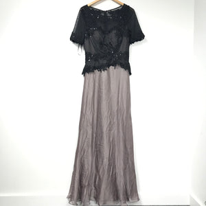 NWT Laura Sheer Bodice Two Tone Black and Mauve Formal Dress Sz 8-infinitote.com