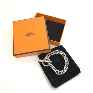 "Authentic Hermes 'Chaine d'Ancre' Silver Link Toggle Bracelet with Box 8""-infinitote.com"