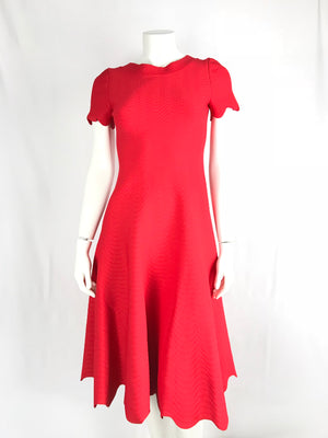 NEW Joseph Women's Red Midi Jersey Scalloped Dress