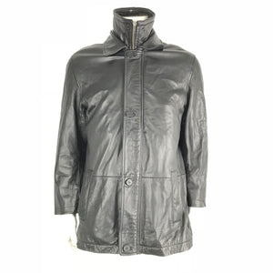 Danier Leather Men's Authentic Leather Jacket with 2-Zip and Button Up Closure - Size M