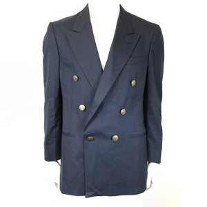 Christian Dior Double Breasted Wool Navy Blazer Gold Buttons Sz 40R-infinitote.com