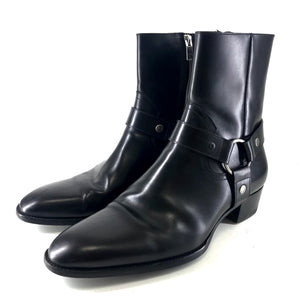 Saint Laurent Men's Wyatt 40 Leather Harness Boots Black Sz 43 US10-infinitote.com