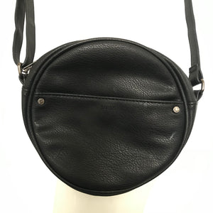 ROOTS Circular Round Faux Leather Handbag Purse Black-infinitote.com