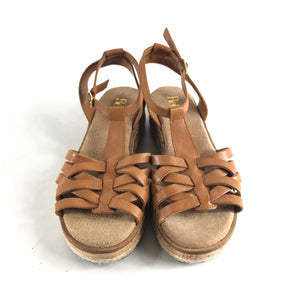 Reba by Reba Mcentire Pauline Leather Sandals Wedges Brown Sz 6.5-infinitote.com