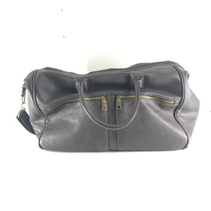 David Jones PU Pleather Weekender Bag Dark Brown-infinitote.com