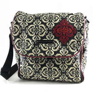"Petunia Pickle Bottom Coated Diaper Bag Backpack Black/White 16"" x 13.5"" x 6""-infinitote.com"
