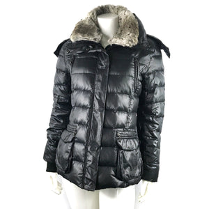 Berenice Black Hooded Down Jacket with Removable Fur Collar Sz M-infinitote.com