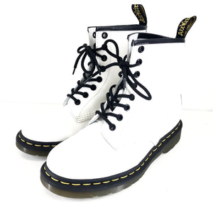 Dr. Doc Martens Air Wair 1460 8 Eye Leather Boots Matte White M5/W6-infinitote.com