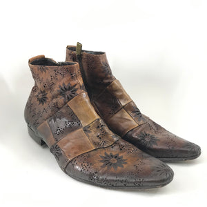 Jo Ghost Men's Leather Ankle Boots Brown Handmade In Italy Sz 9-infinitote.com