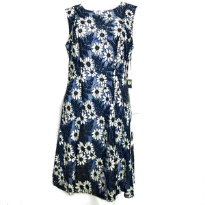 Tommy Hilfiger Floral Shift Dress Lace Overlay Blue White Sz 14-infinitote.com
