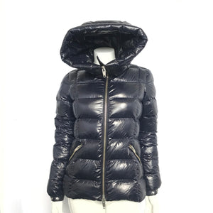 The Kooples Paris Women's Puffer Jacket Glossy Hooded Navy Blue Sz XS-infinitote.com