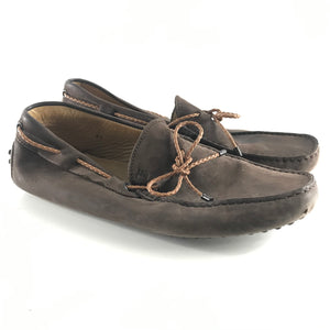 TOD'S Men's Gommino Dark Brown Loafers Nubuck Sz 8.5-infinitote.com