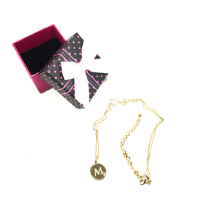 "Kate Spade One In a Million Initial ""M"" Gold Plated Pendant Necklace-infinitote.com"