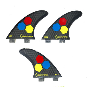 3x Shapers AM3 Surfboard Surfing Fins - Gray-infinitote.com