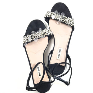 Miu Miu Black Bedazzled Pearls Sandals with Small Octagonal Mirrored Heel - Size 37.5
