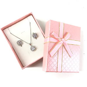 925 Sterling Silver Clear CZ Bridal Pendant Necklace Stud Drop Earrings Set-infinitote.com
