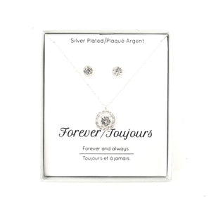 Sterling Silver Plated Clear CZ Bridal Pendant Necklace Stud Earrings Set-infinitote.com