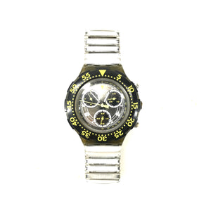 Vintage Swatch Men's Chronograph Plastic Elastic Watch-infinitote.com