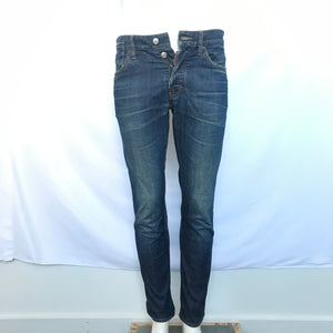 DSQUARED2 Men's Distressed Straight Jeans Medium Blue Sz 32-infinitote.com