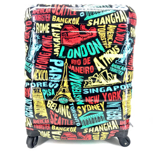 "Cityscape Design Black and Multicolor Carry On Luggage 21""-infinitote.com"