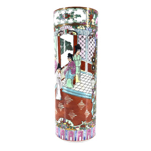 "Hand Painted Chinese Traditional Cylinder Vase 9""-infinitote.com"
