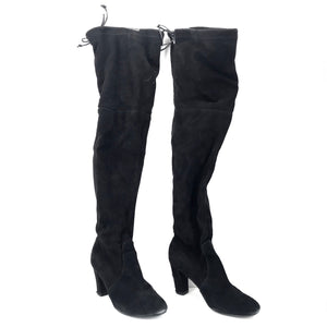 Stuart Weitzman Kirstie 80 Over the Knee Boots Black Suede Sz 39-infinitote.com