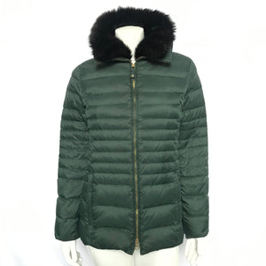 Talbots Women's Quilted Down Jacket Faux Fur Green Sz S-infinitote.com
