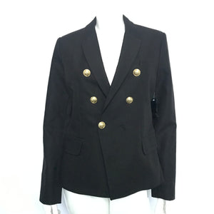 Icone Women's Double Breasted Blazer Gold Buttons Black Sz L-infinitote.com