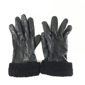 Ralph Lauren Women's Leather Gloves Shearling Cuff Sz XL-infinitote.com