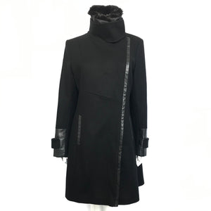 Via Spiga Faux Shearling Leather Trim Wool Blend Coat Black Sz 12-infinitote.com