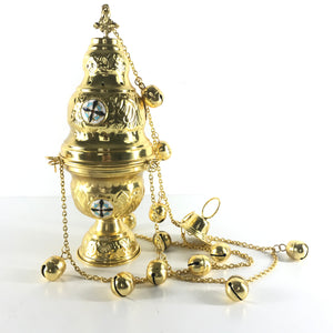 Thurible Censer Incense Burner Gold 4 Chains 12 Bells Handmade-infinitote.com
