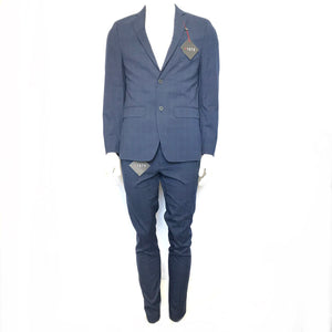 1670 Slim Fit Suit Jacket Sz 40R and Pants Sz 34W x 32L Blue Check-infinitote.com