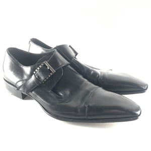 Cesare Paciotti Men's Monk Strap Leather Dress Shoes Black Sz 9-infinitote.com