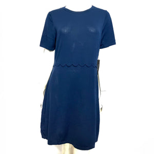 Tahari Knit Fit & Flare Short Sleeve Dress with Scalloped Waist Sz XL-infinitote.com