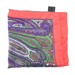 "Etro 100% Silk Men's Mini Scarf Paisley Pocket Square Red Blue 16.5"" x 16.5""-infinitote.com"