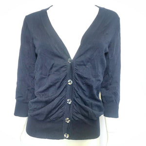 Evie Women's Navy Blue Buttoned 3/4 Sleeve Cardigan Sz L-infinitote.com