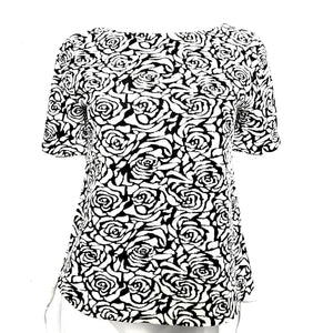 Philosophy Women's Ponte Jacquard Floral Top Shirt Black White M-infinitote.com