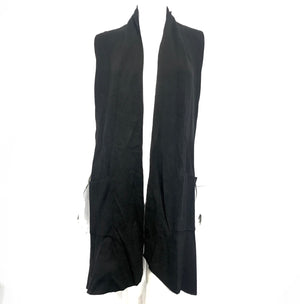 Vivian Shyu Waterfall Vest Sleeveless Long Cardigan Black Sz M/L-infinitote.com