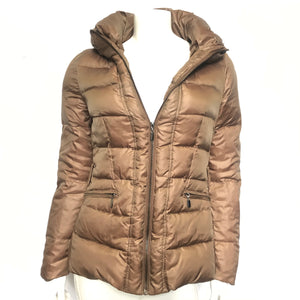 Zara Woman Ladies' Short Down Jacket Satin Look Brown Sz S-infinitote.com