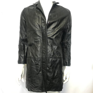 Saguaro Women's Buttoned Long Leather Jacket Coat Black Sz L-infinitote.com