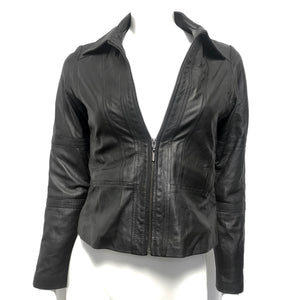 Kasaka Women's Leather Moto Jacket Black Sz S-infinitote.com